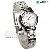 WIRED f 太陽能優雅時刻女錶 日期視窗 防水手錶 銀x玫瑰金 AY8020X1 V137-0CM0S
