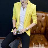男士新款半袖西裝青少年韓版修身棉麻短袖小西裝夏季薄款中袖外套   莉卡嚴選