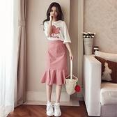 夏裝新款時尚網紅法式赫本套裝裙子女很仙的洋氣洋裝兩件套