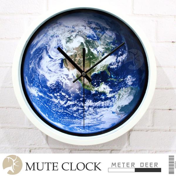 宇宙太空地球人造衛星雲圖時鐘 有框靜音掛鐘 現代牆面設計科學裝擺飾世界地圖儀-米鹿家居