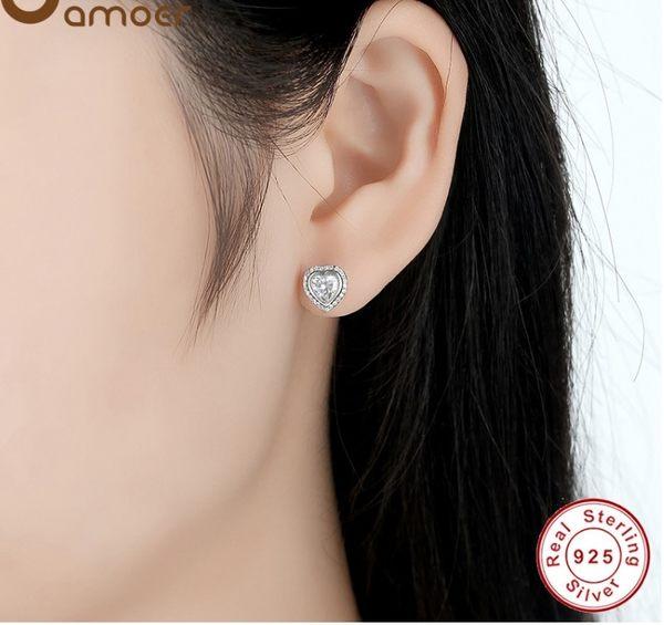 【現貨】s925純銀 愛心滿鑽鋯石 耳環 耳釘 耳飾 基本款 流行 飾品 禮物 情人節 防過敏 小耳環
