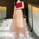 長裙 ~夏季網紅套裝洋氣維多利亞法式兩件套背心網紗半身長裙子女