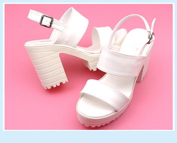 ★7271D❤ 愛麗絲的最愛☆2016春夏時尚必備❤個性縷空魚口繫帶厚底高跟涼鞋/粗跟涼鞋