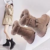 雪靴 雪地靴女冬季2020新款短筒棉靴韓版外穿毛毛厚底女靴絨里時尚女鞋 俏girl