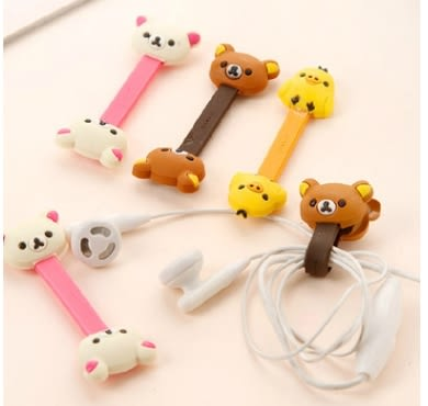 King*Shop----韓版卡通可愛 輕松熊系列繞線器/集線器 耳機手機線繞線器