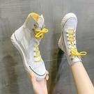 高幫小白鞋女2021春夏新款老爹鞋女百搭學生網紗高腰運動平底板鞋 快速出貨