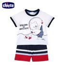 chicco-海洋度假-男童條紋短袖套裝...