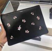 ■專櫃65折■2019新品■ Dior x Kwas 10 隻小蜜蜂限量大款小牛皮手拿包 粉色