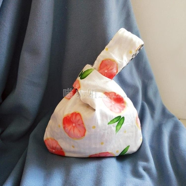 日式和風西柚套結手挽袋手機鑰匙手提包手腕女包袋零錢包手拿包女 喵小姐