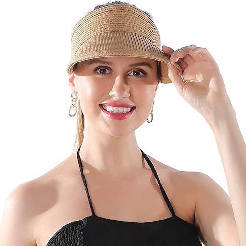 女防曬防紫外線可折疊遮陽草帽(稻草色)