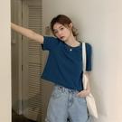 夏季寬鬆顯瘦霧霾藍T恤女素色短袖短款潮純棉韓版短上衣配高腰褲 童趣屋 免運