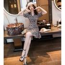 碎花連衣裙夏 一米五法式新款氣質女裝2021輕奢高級設計感碎花連衣裙小個子春夏 設計師