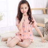 夏季棉綢兒童女童睡衣短袖薄款小孩中大童綿綢女孩寶寶家居服套裝-Ifashion