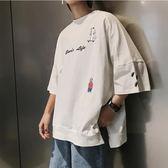 ulzzang韓國男生短袖t恤潮牌韓版寬鬆bf原宿風日系學生純色半袖男