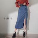 PUFII-牛仔裙 側開衩牛仔中長裙(附綁帶)-1205 現+預 冬【CP17694】