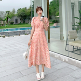 韓版 洋裝 法式收腰S-XL氣質顯瘦桔梗裙複古茶歇爾甜美初戀中長款連身裙9108 H325 韓依紡