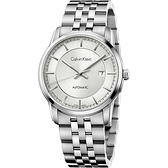 CK Calvin Klein 無垠系列型男紳士機械錶(K5S34146)/銀白面/42mm