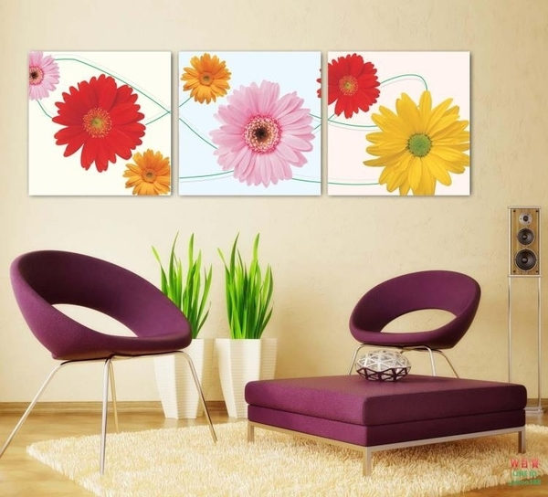 無框畫裝飾畫客廳沙發背景三聯臥室花卉畫藝術向日葵掛畫