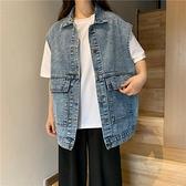牛仔馬甲 工裝復古牛仔外套女寬鬆2021年新款秋季韓版潮流無袖馬夾背心馬甲 韓國時尚週