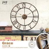 掛鐘 時鐘 壁鐘 法式仿舊羅馬靜音鐘 太陽牌機芯 鐵藝 鏤空 造型鐘 美式鄉村 品歐家具【C3】