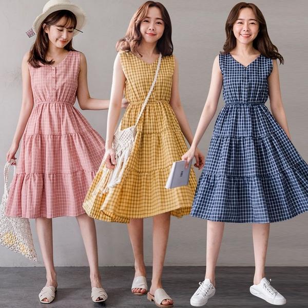 MIUSTAR 甜美質感!雙V前排釦格紋魚尾洋裝(共3色)【NH0368】預購