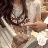 顯瘦短袖純棉上衣女韓系少女日常百搭印花短袖T恤女【大碼百分百】