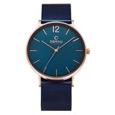 OBAKU 暗黑騎士鋼質腕錶-玫瑰金色X藍色-V197GXVLML