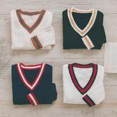 MUMU【N88315】V領學院風袖口領口撞色針織毛衣。四色