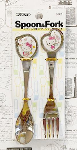 【震撼精品百貨】Hello Kitty 凱蒂貓~三麗鷗 kitty 日本不銹鋼湯匙叉子組#25639