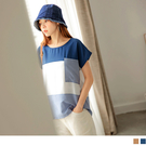 《AB15568》長版造型配色拼接條紋口袋短袖上衣 OrangeBear