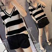 針織短袖 歐洲站夏季新款韓版寬松條紋V領針織衫女薄款簡約短袖T恤冰絲上衣 維多
