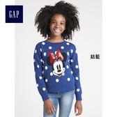 Gap x Disney女童 迪士尼系列純棉簡約可愛米妮圖案圓領長袖毛衣 356311-鈷藍