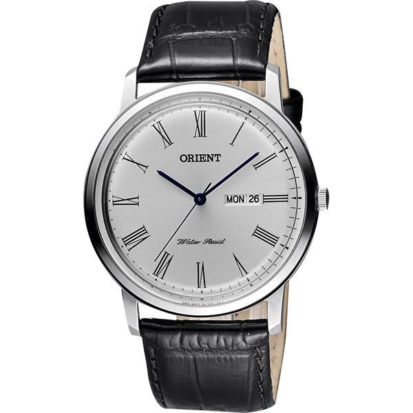ORIENT 東方 都會羅馬石英腕錶-銀x黑/40mm FUG1R009W