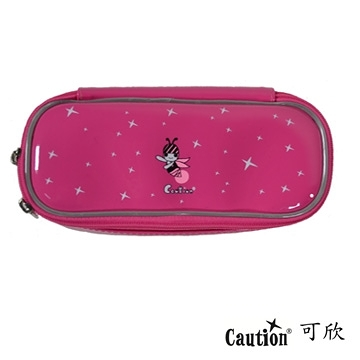 文具 鉛筆盒 袋 雙層 防水耐髒 Caution可欣 1036 可愛粉