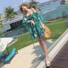 一字領連身裙-荷葉邊印花雪紡波希米亞短洋裝3色74ag17【巴黎精品】