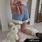 牛仔闊腿超可愛短褲女夏季高腰蕾絲花邊學生日系風網紅熱褲子【全館免運】