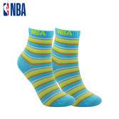 NBA 女款條紋基本緹花中筒襪 MIT 運動配件 中筒襪 平版襪(藍/草綠條紋)