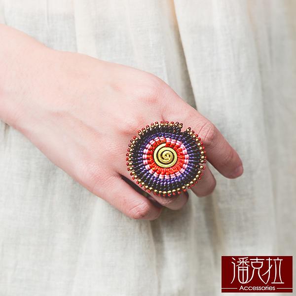 彩色編織盾形戒指彩色【潘克拉Accessories】