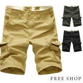 大尺碼短褲《Free Shop》【QTJ1306】美式休閒風格翻蓋口袋造型加邊銅釦造型車線休閒工作短褲‧三色