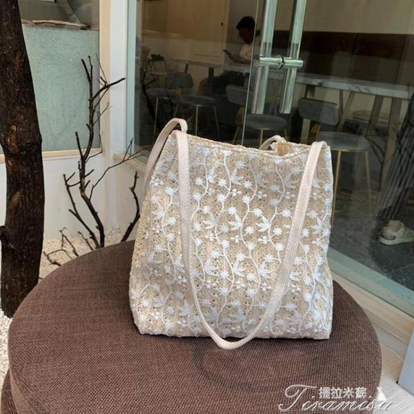 水桶包-仙女包包韓版草編蕾絲單肩包手提包女士大容量水桶 提拉米蘇