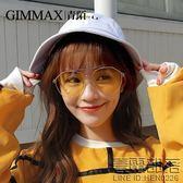 青陌多邊形眼鏡女款大框潮人太陽鏡透明個性網紅墨鏡圓臉裝飾鏡(送鏡盒)【萊爾富免運】