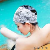 護耳加大不勒頭泳帽蕾絲防水游泳帽