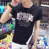 短袖T恤 夏季男修身男裝印花青年休閒上衣服《印象精品》t57