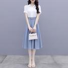 VK精品服飾 韓系素色襯衫長版半身裙休閒套裝短袖裙裝