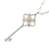 Tiffany & Co 蒂芬妮 Tiffany Keys Floret 18k白金鑲鑽小花鑰匙鉑金項鍊【BRAND OFF】