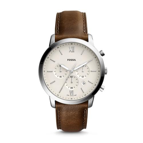 FOSSIL經典美式三眼計時皮帶腕錶FS5380