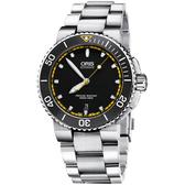 Oris豪利時 Aquis 時間之海300米潛水機械錶-黑x黃圈/43mm 0173376534127-0782601PEB