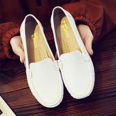 女單鞋平底小白鞋舒適護士鞋白色休閒媽媽鞋軟底牛筋底皮鞋【蘇迪蔓】