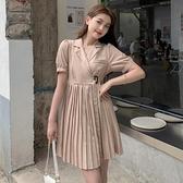 小洋裝 連身裙好質量西裝百褶裙小個子可甜可鹽連身裙子法式初戀女裝夏FFA027依佳衣