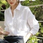 亞麻上衣設計感小眾棉麻白襯衫女休閒百搭寬鬆韓版輕熟苧麻襯衣 至簡元素
